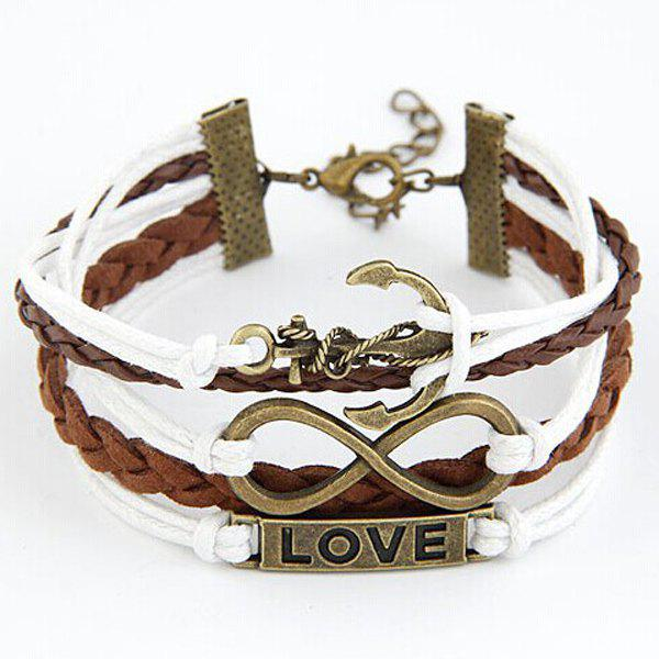 Infinity Anchor Love Layered Bracelet - BROWN