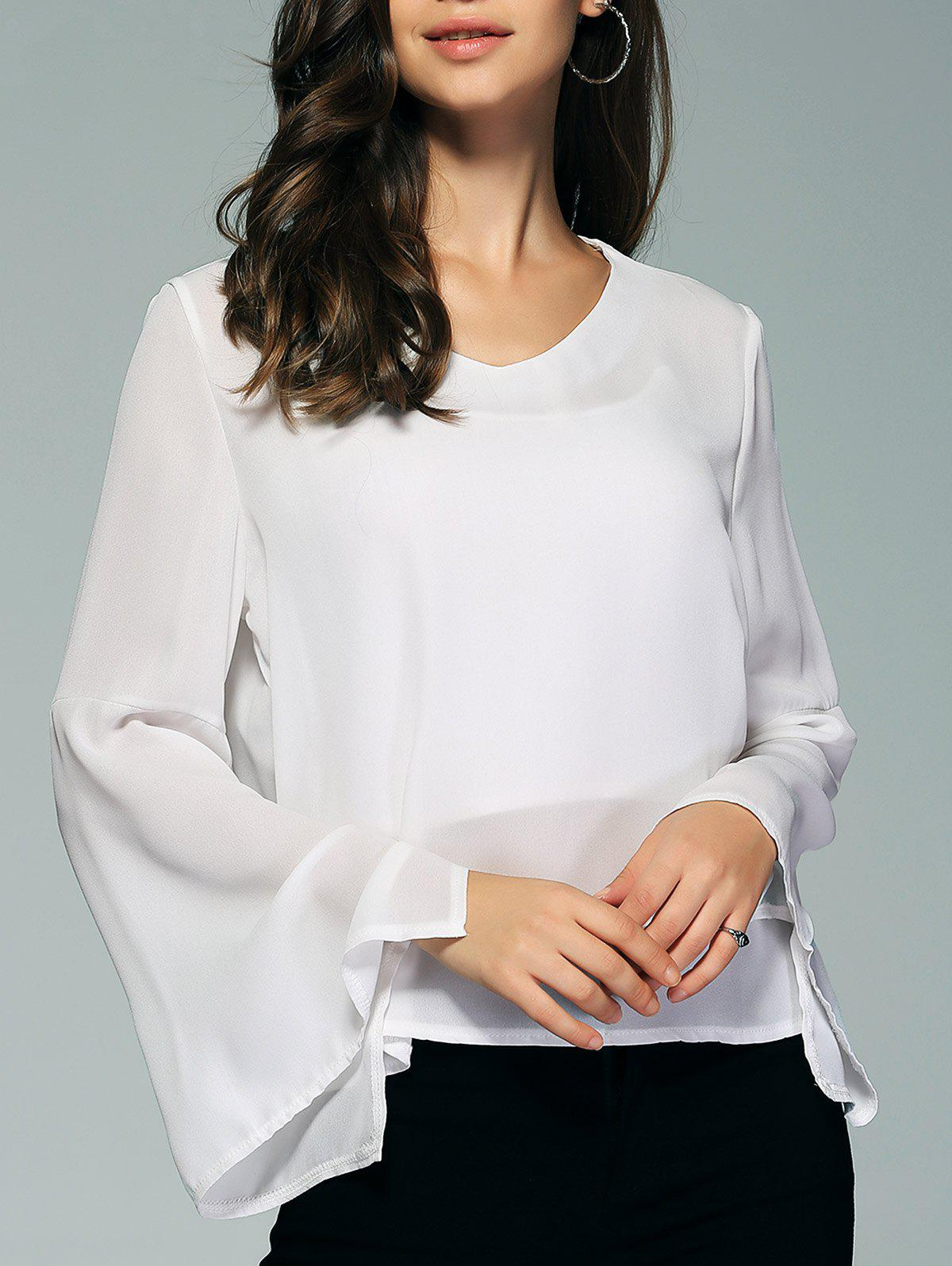 Concise Flare Sleeve Pure Color Blouse For Women - WHITE XL