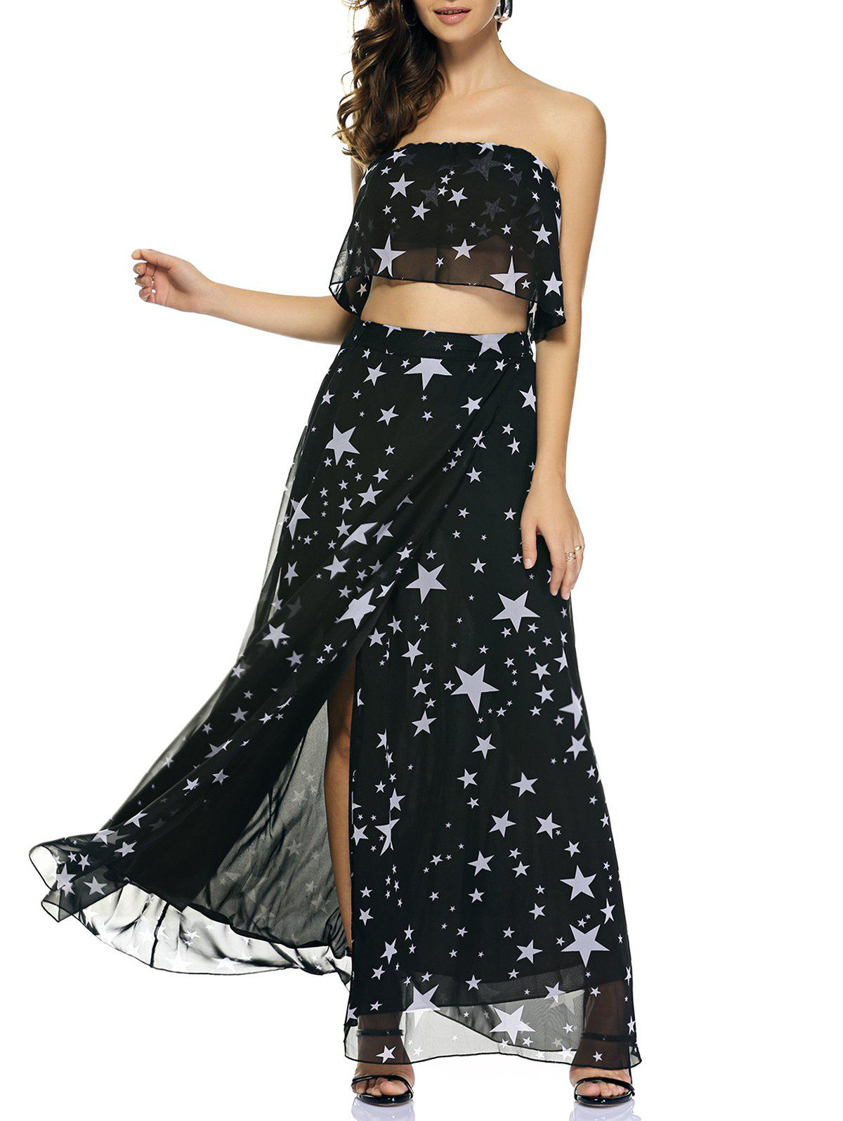 Chic Star Print Tube Top + High Slit Skirt - BLACK 2XL