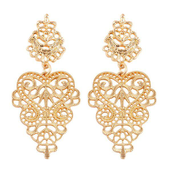 Floral Openwork Drop Earrings - GOLDEN
