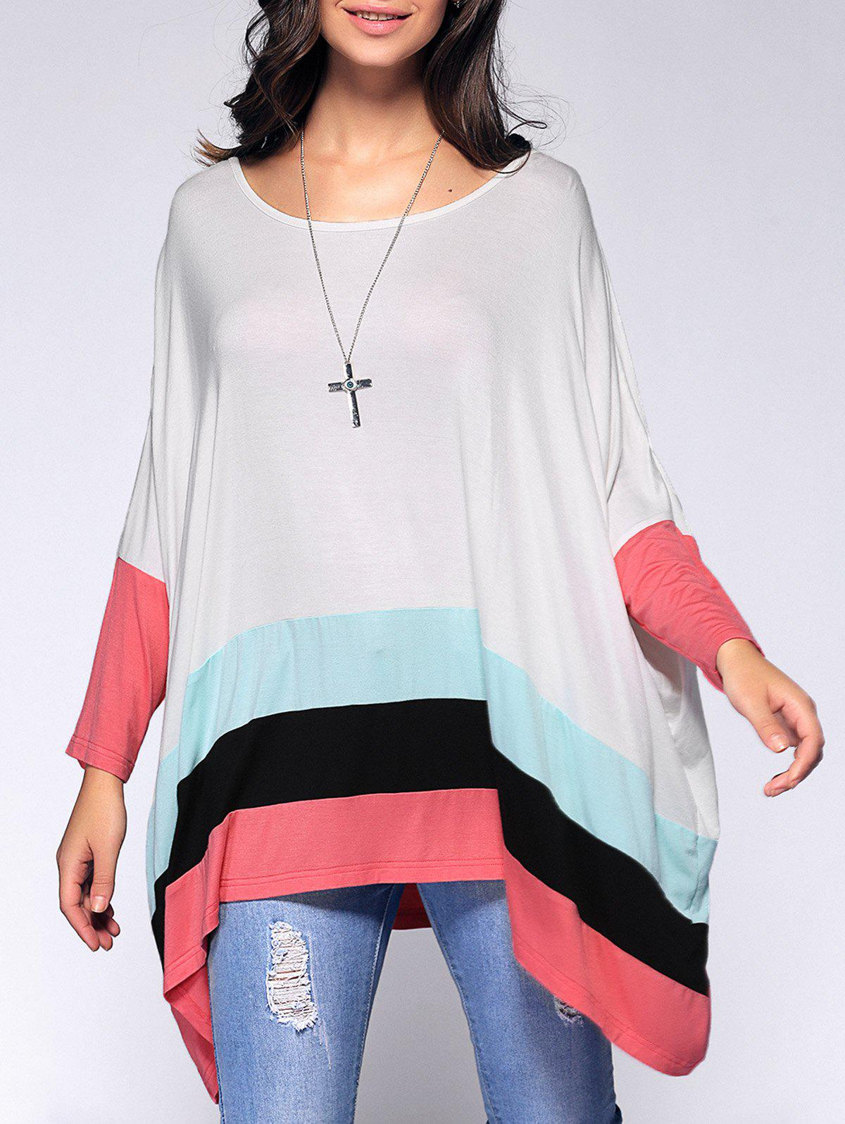 Loose Long Sleeves Hit Color T-Shirt