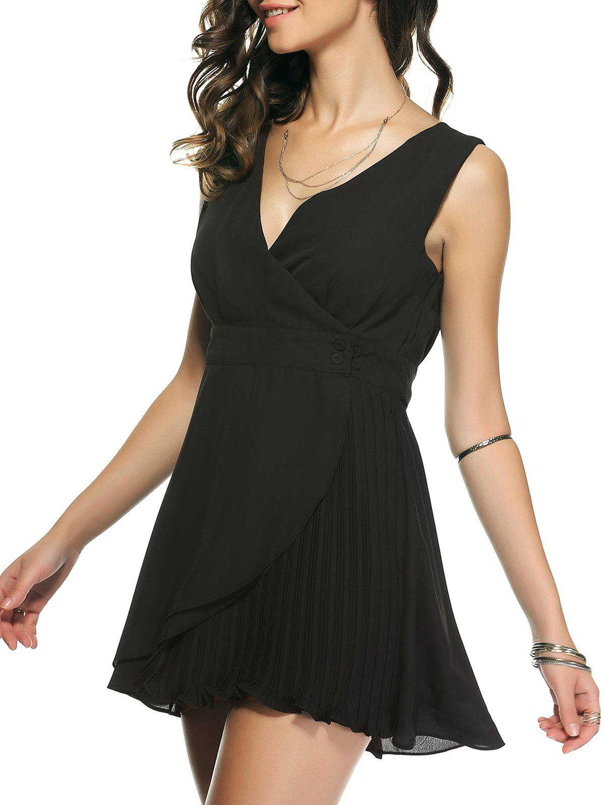 Alluring Pleated Bowknot Dress For Women - BLACK XL
