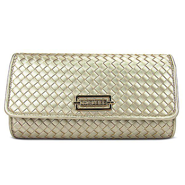Graceful Woven and Metal Design Women's Clutch Bag - GOLDEN