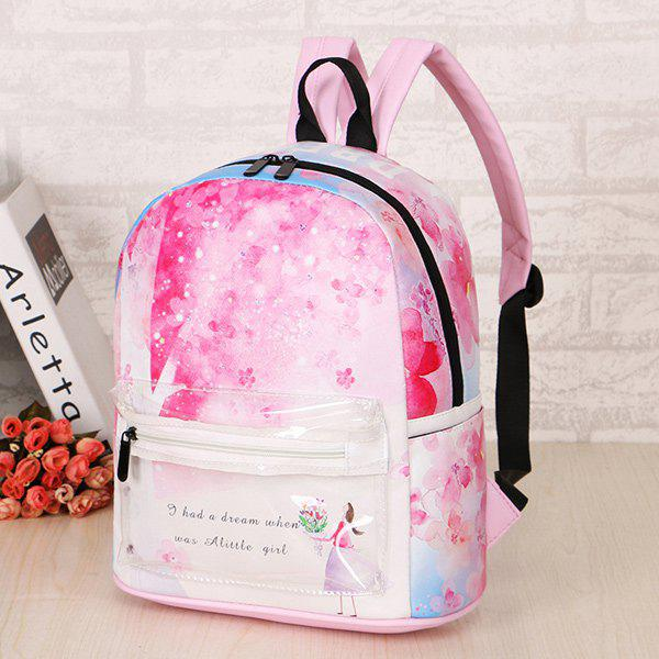 Trendy Floral Print and Girl Pattern Design Women's Backpack - PINK