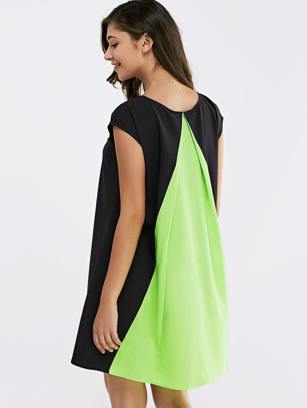 Short Sleeves Round Collar Color Block Splice Dress - BLACK/GREEN XL