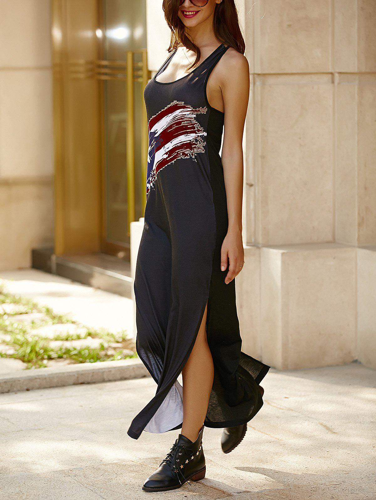 Stylish U Neck Sleeveless Criss-Cross High Slit Maxi Dress