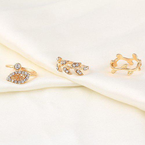 A Suit of Charming Rhinestone Leaf Rings For Women - GOLDEN ONE-SIZE