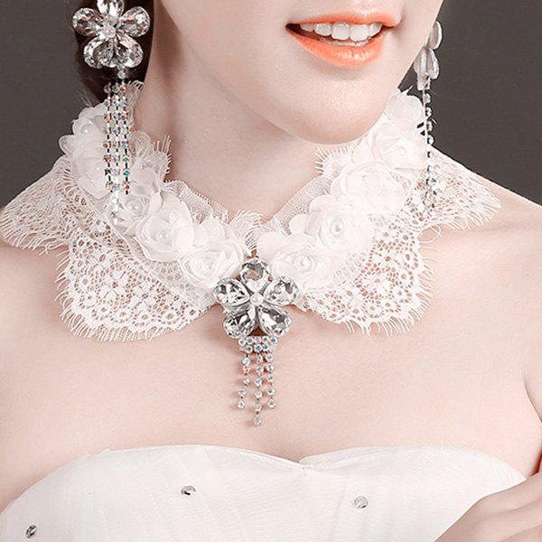 Graceful White Lace Floral Faux Crystal Flower Fake Collar Necklace For Women - WHITE