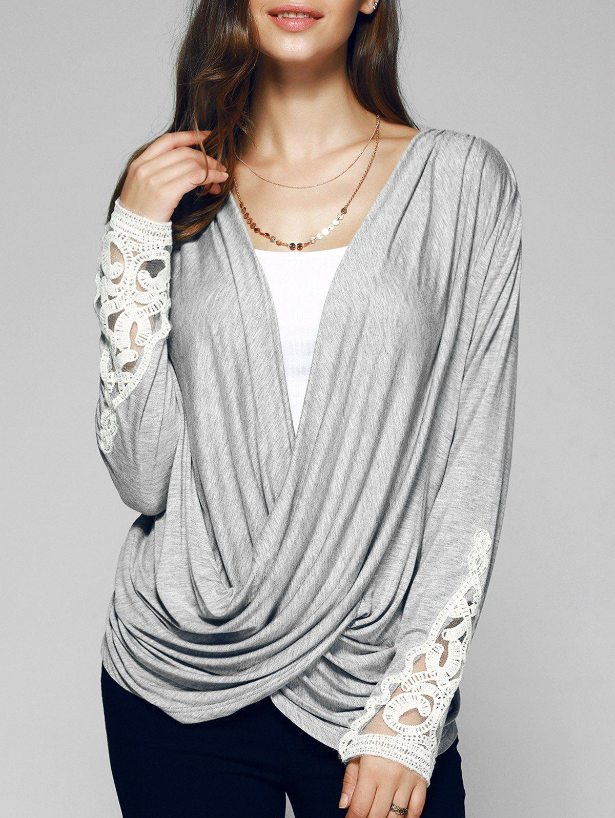 Long Sleeves Lace Splice Plunging Neck T-Shirt - GRAY XL
