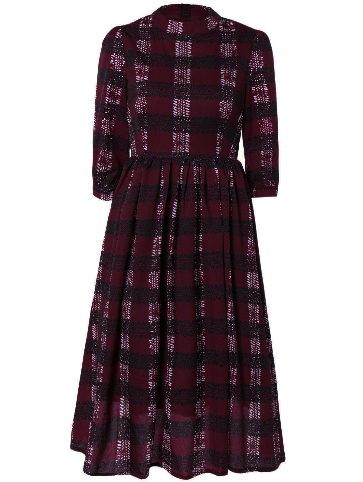 Chic Zipper Back Plaid Dress For Women - RED XL