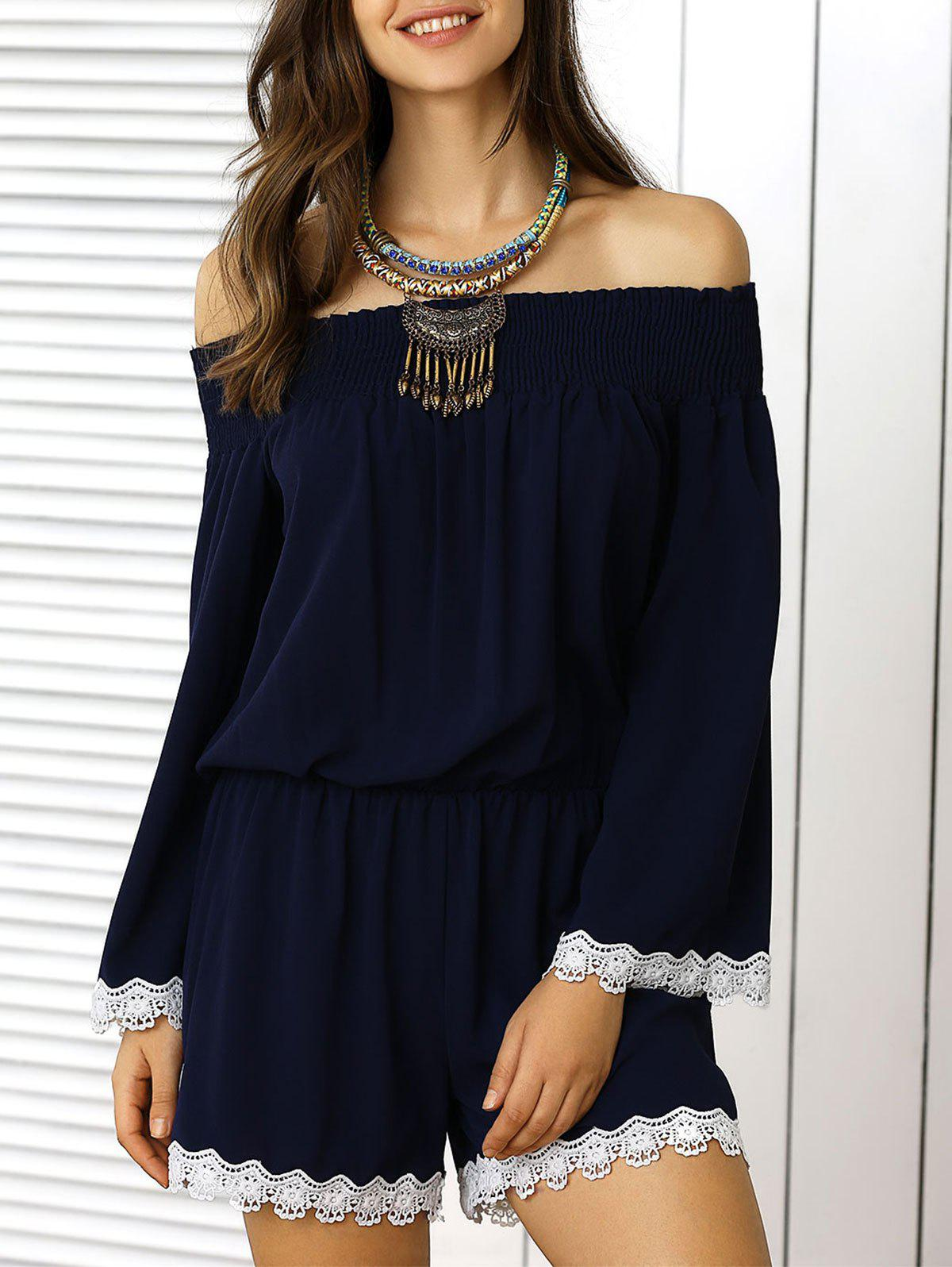 Off The Shoulder Lace Panel Pants Romper - DEEP BLUE XL