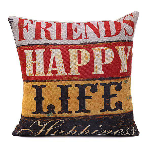 High Quality Horizontal Block Friends Happy Life Pattern Pillow Case - COLORMIX