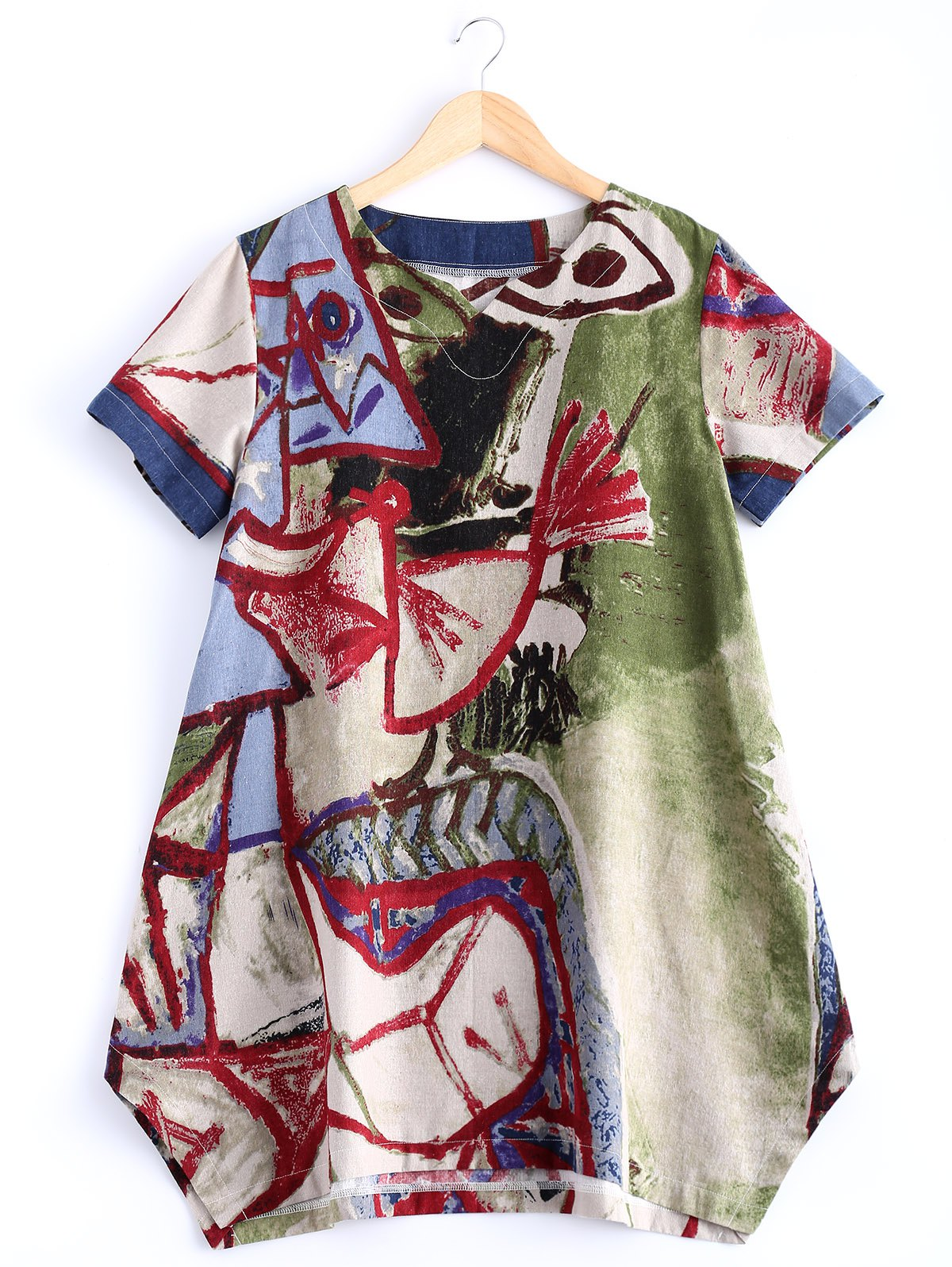 Stylish V Neck Abstract Print Loose Fitting Dress - COLORMIX S