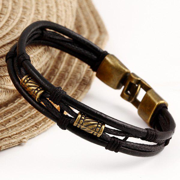 Rope Faux Leather BraceletJewelry<br><br><br>Color: BLACK