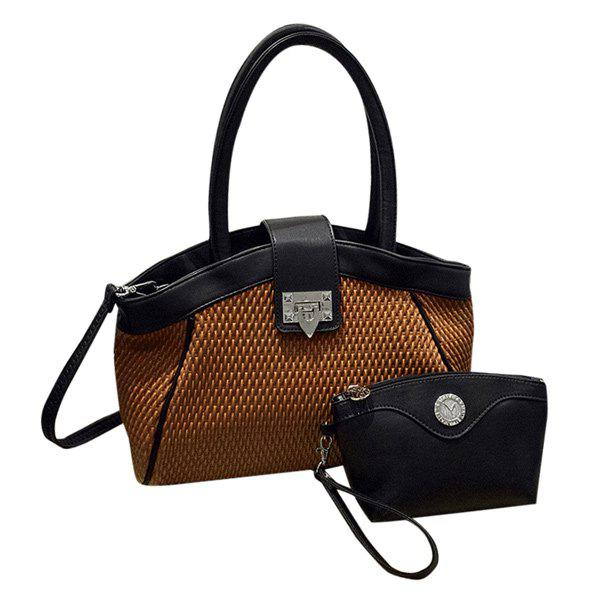 Fashionable Hasp and PU Leather Design Women's Tote Bag - BROWN