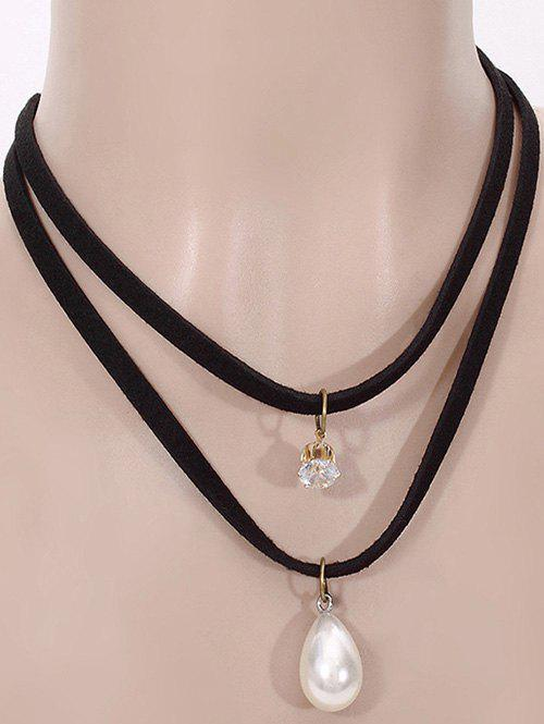 Rhinestone Faux Pearl Teardrop Necklace - BLACK