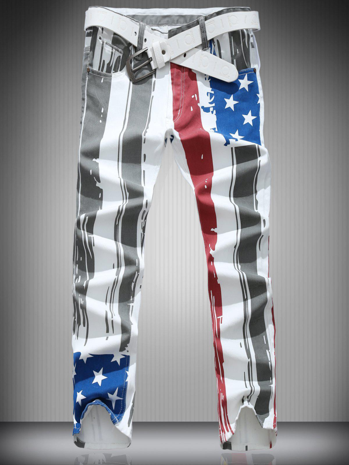 Vertical Stripe and Star Print Zipper Fly Narrow Feet Men's Pants - COLORMIX XL