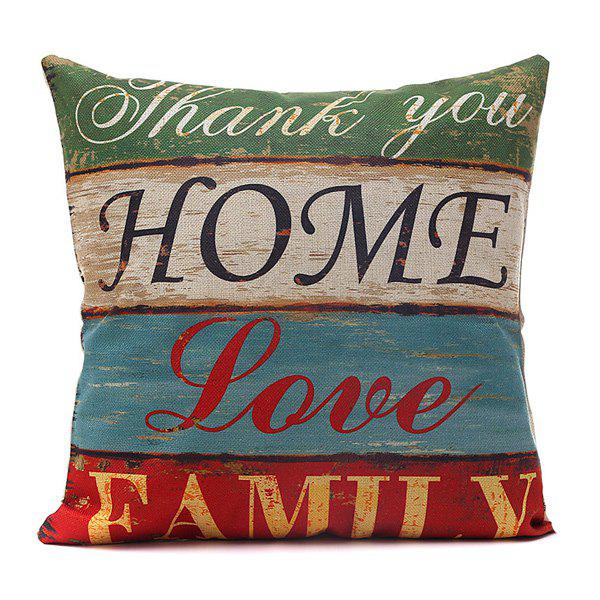 Sweet Horizontal Block Love Home Letter Pattern Pillow Case - COLORMIX
