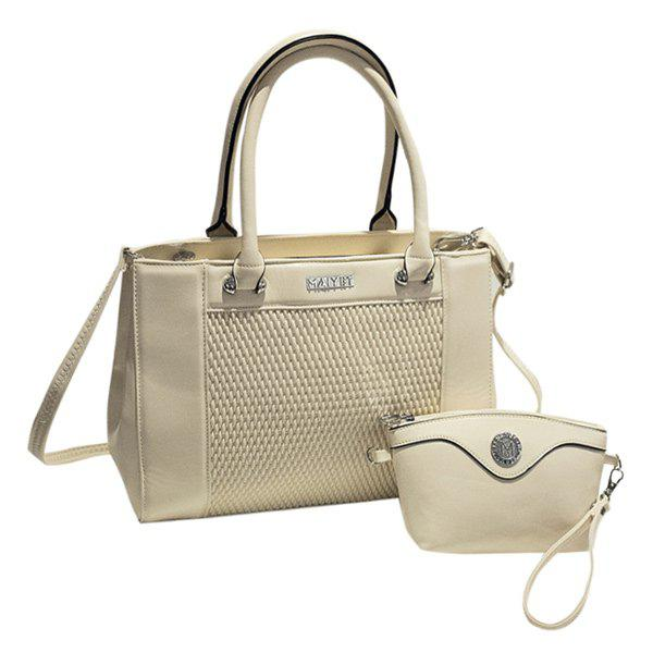 Elegant Weaving and PU Leather Design Women's Totes - OFF WHITE