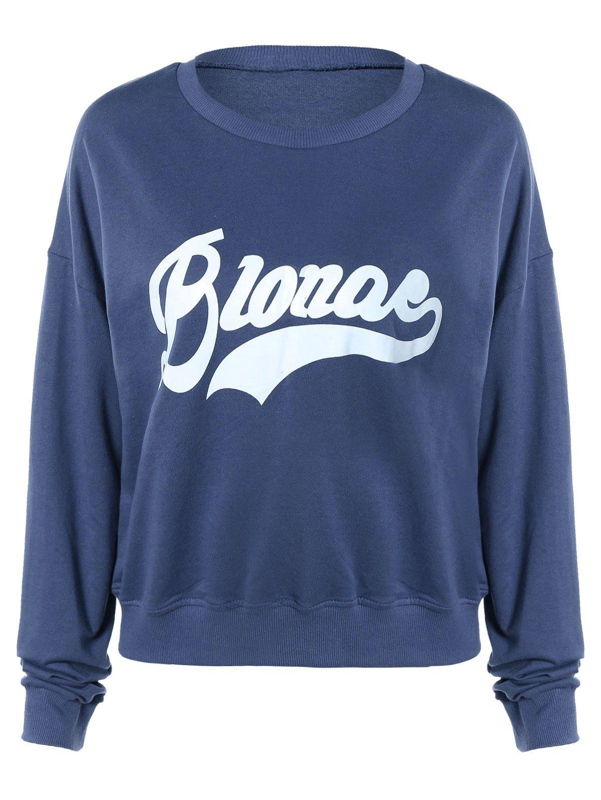 Brief Letter Print Pullover Sweatshirt For Women