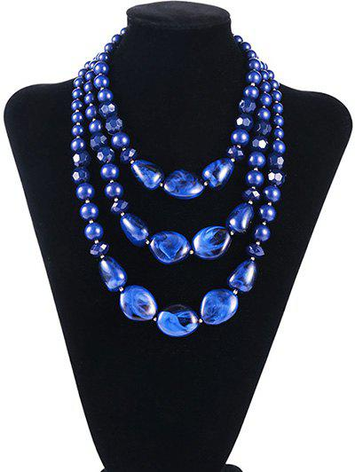 Geometric Resin Faux Stone Multilayered Necklace - SAPPHIRE BLUE