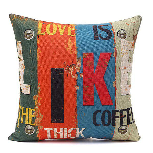 Trendy Like Letter Printing Vertical Block Pillow Case - COLORMIX