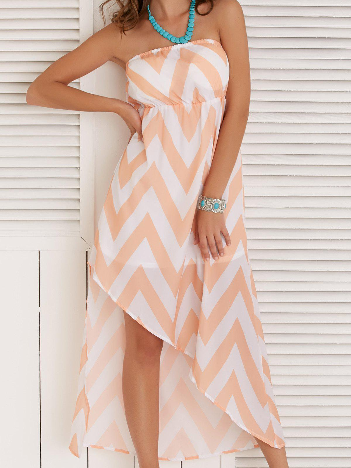 Women's Strapless High Low Zigzag Maxi Dress - COLORMIX XL