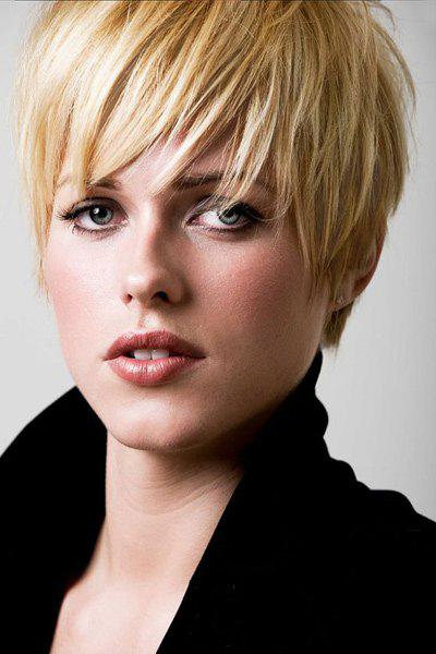 Faddish Short Side Bang Straight Pixie Cut Women's Real Human Hair Wig - BLONDE