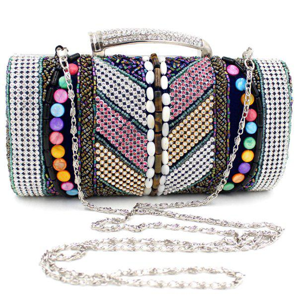 Ethnic Beading and Rhinestone Design Women's Evening Bag - BLUE