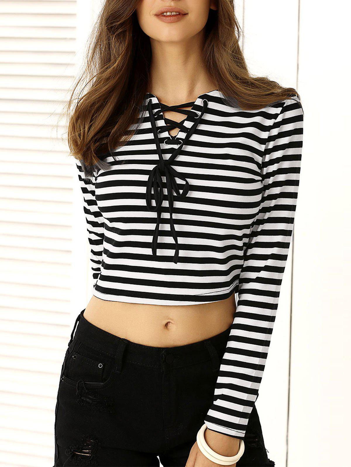 Chic Striped Lace Up Crop Top For Women - WHITE/BLACK L