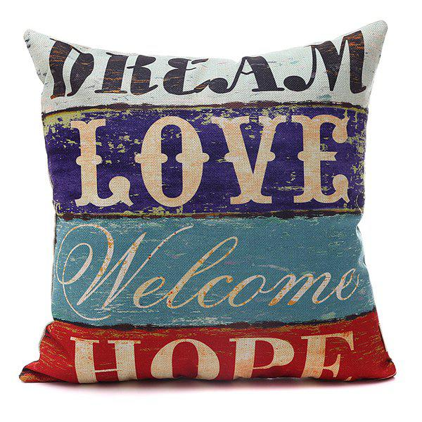 Creative Hope Letter Printed Horizontal Block Pillow Case - COLORMIX