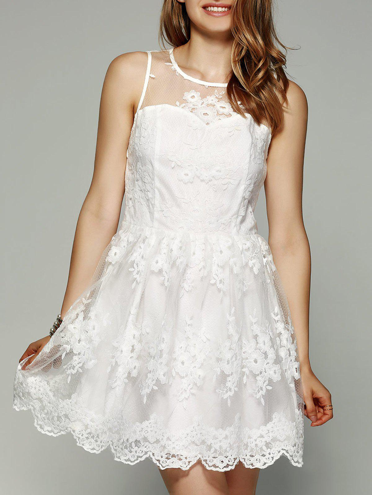 See-Through Scalloped Edge White Lace Dress - WHITE XL