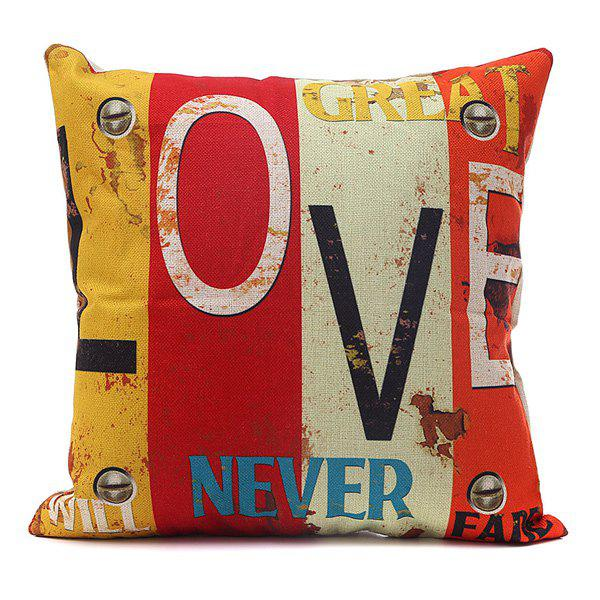 Chic Style Love Letter Printing Vertical Block Pillow Case - COLORMIX