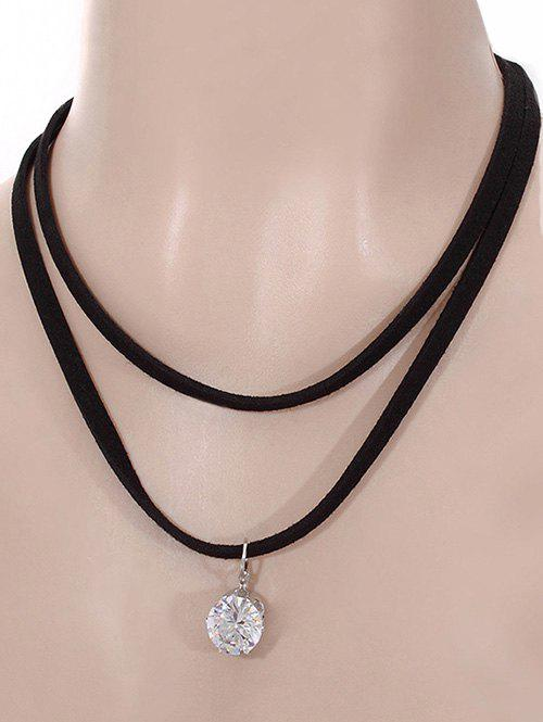 Velvet Multilayered Rhinestone Pendant Necklace - BLACK