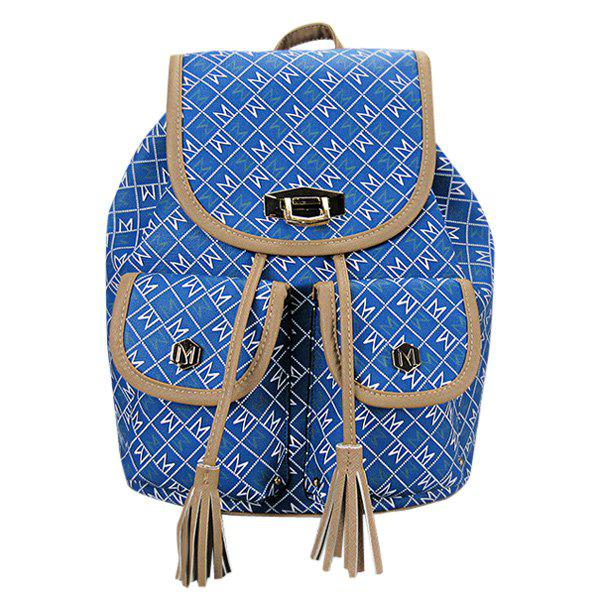 Casual Tassels and Letter Print Design Women's Backpack