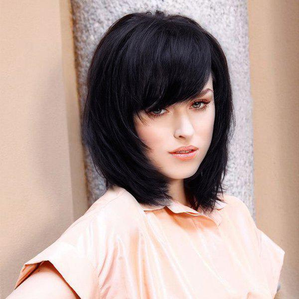 Attractive Medium Straight Side Bang Women's Real Human Hair Wig - JET BLACK