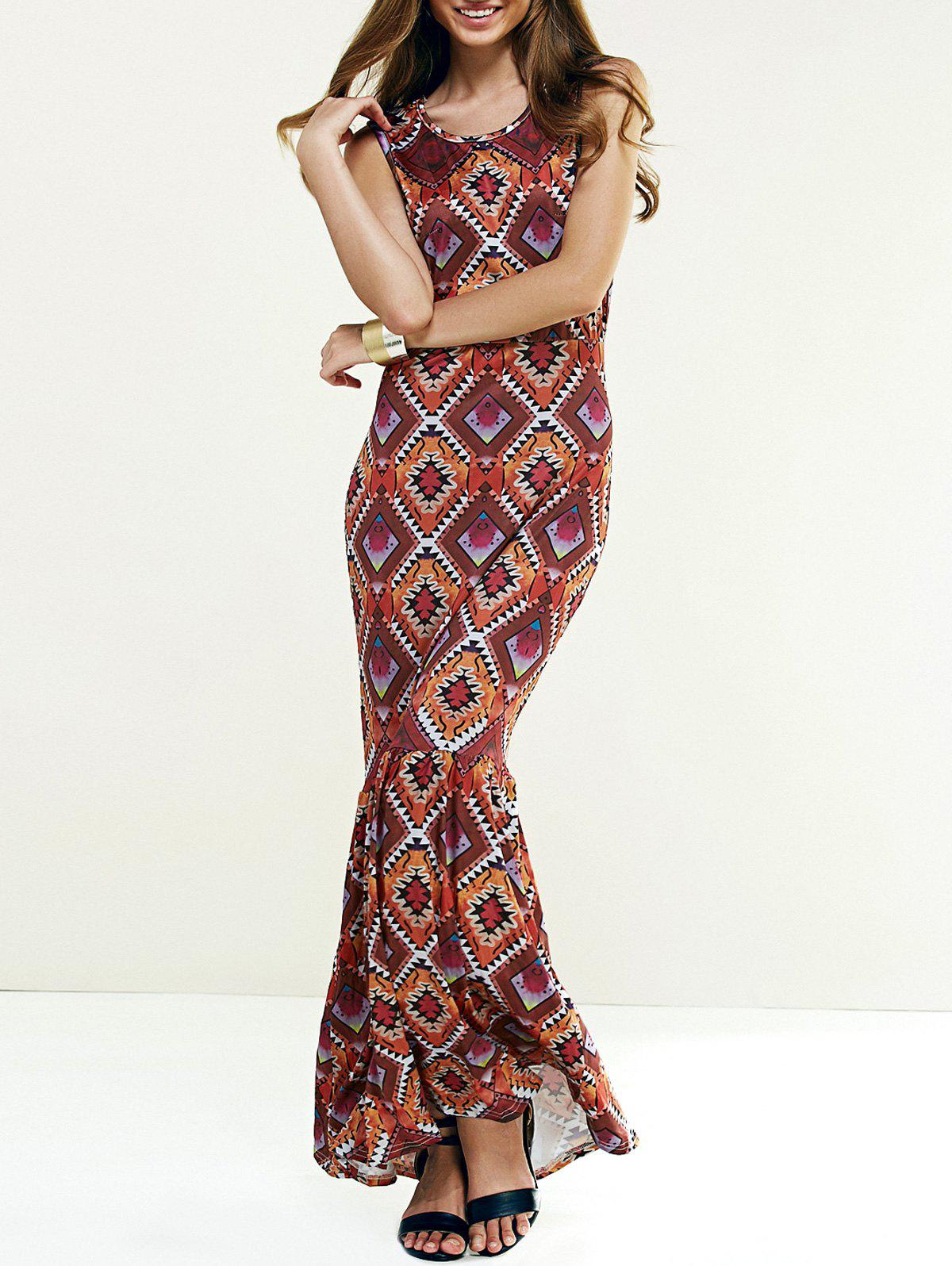 Argyle Print Fishtail Maxi Dress - S COLORMIX