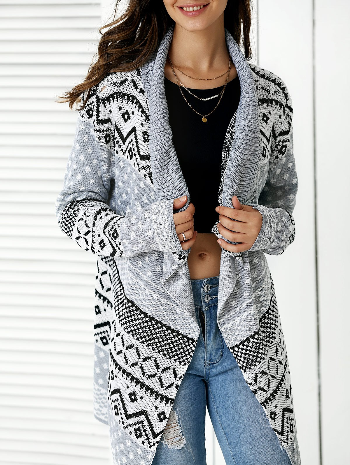 Stylish Geometric Pattern Asymmetrical Cardigan For WomenWomen<br><br><br>Size: ONE SIZE<br>Color: GRAY