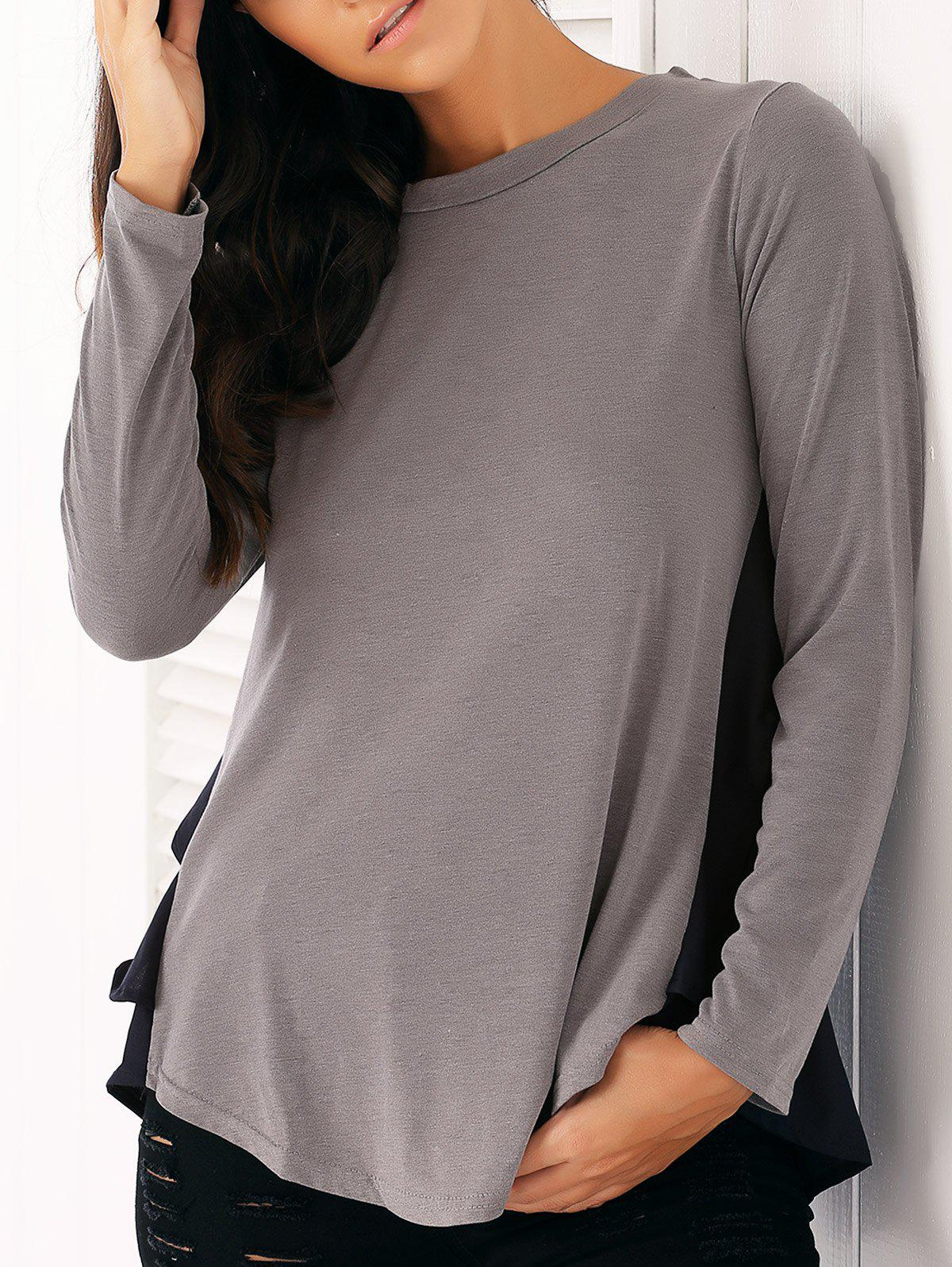 Casual Long Sleeve Chiffon Spliced Flounced Blouse - GRAY M