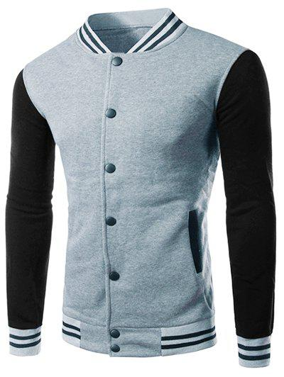 Classic Color Block Striped Rib Spliced Stand Collar Long Sleeves Slimming Men's Baseball Jacket - LIGHT GRAY 2XL