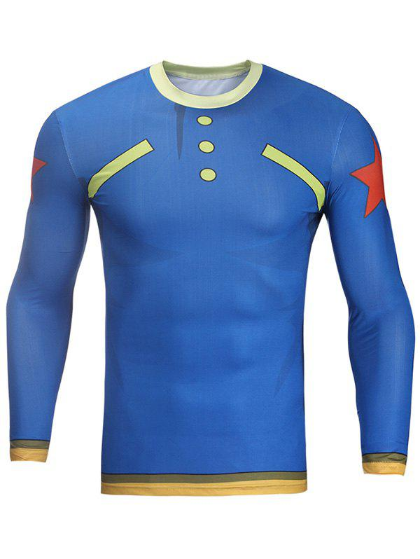 Men's Button and Star Print Round Neck Long Sleeve Tight T-Shirt - BLUE 3XL