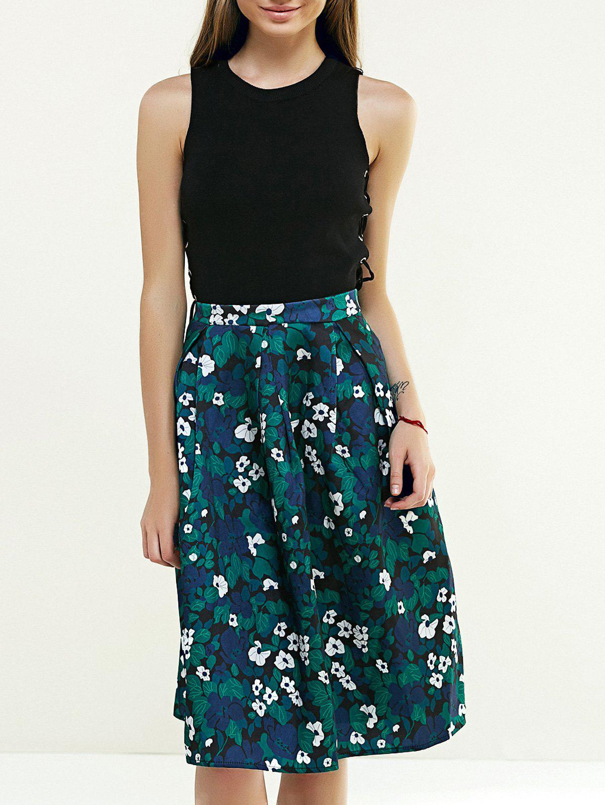 Retro Tiny Floral Printed A Line Skirt - GREEN L