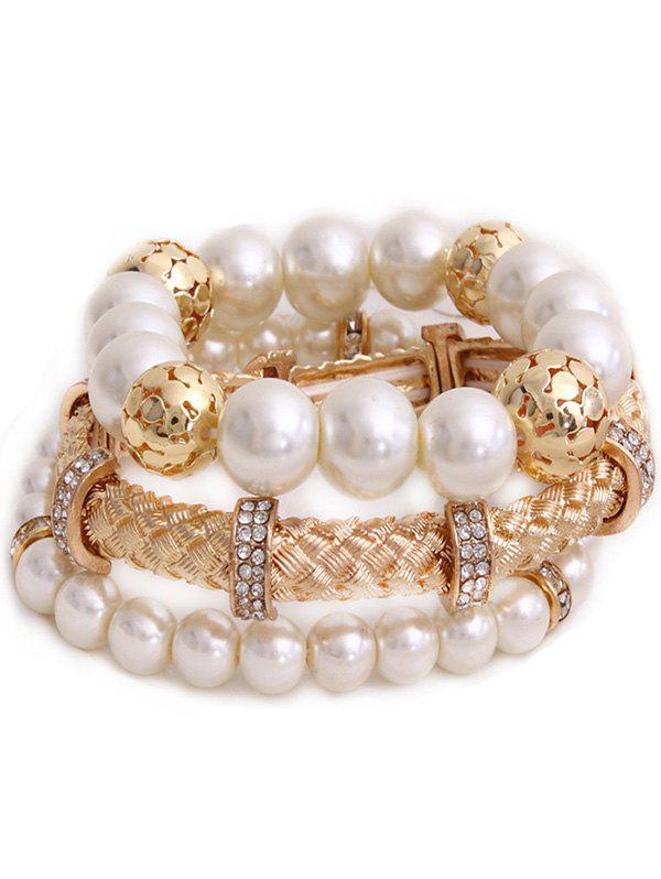 Multilayer Faux Pearl Bracelet - GOLDEN