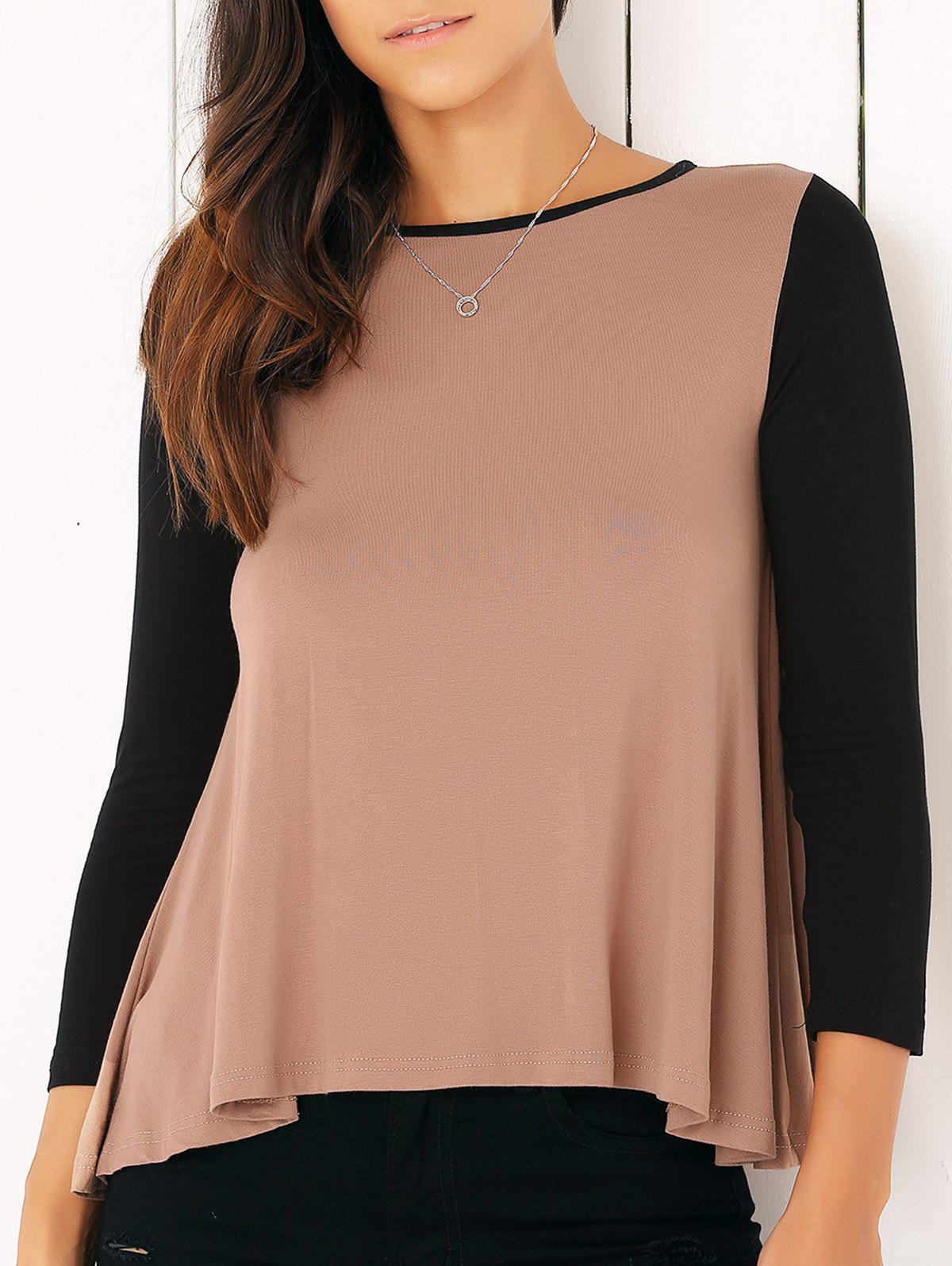 Casual Long Sleeve Color Block Flounced Asymmetric Blouse - CAMEL XL