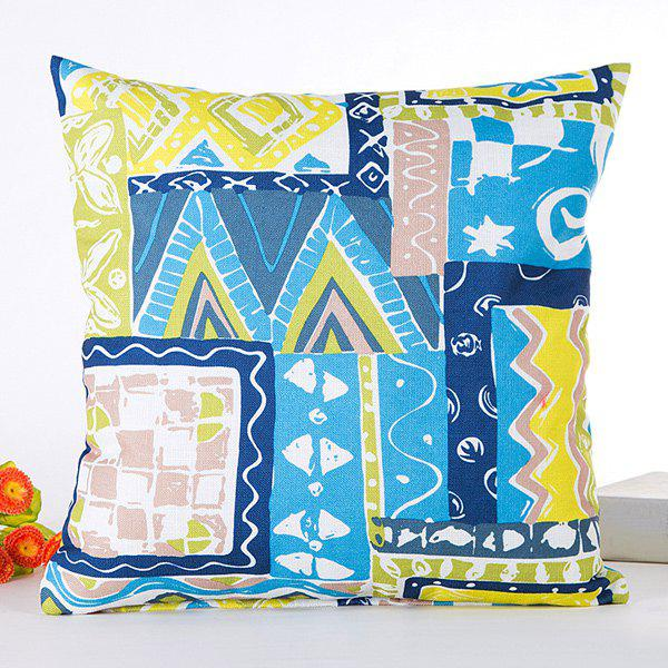 Hot Sale Irregular Goemetrical Joint Scrawl Pattern Pillow Case - BLUE