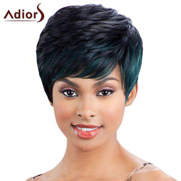 Fashion Women's Mixed Color Short Fluffy Capless Straight Side Bang Synthetic Wig - COLORMIX