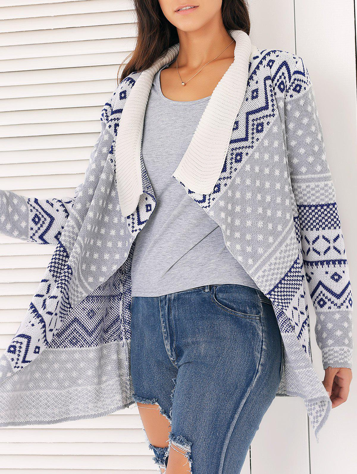 Brief Geometric Pattern Asymmetrical Cardigan For Women - GRAY ONE SIZE