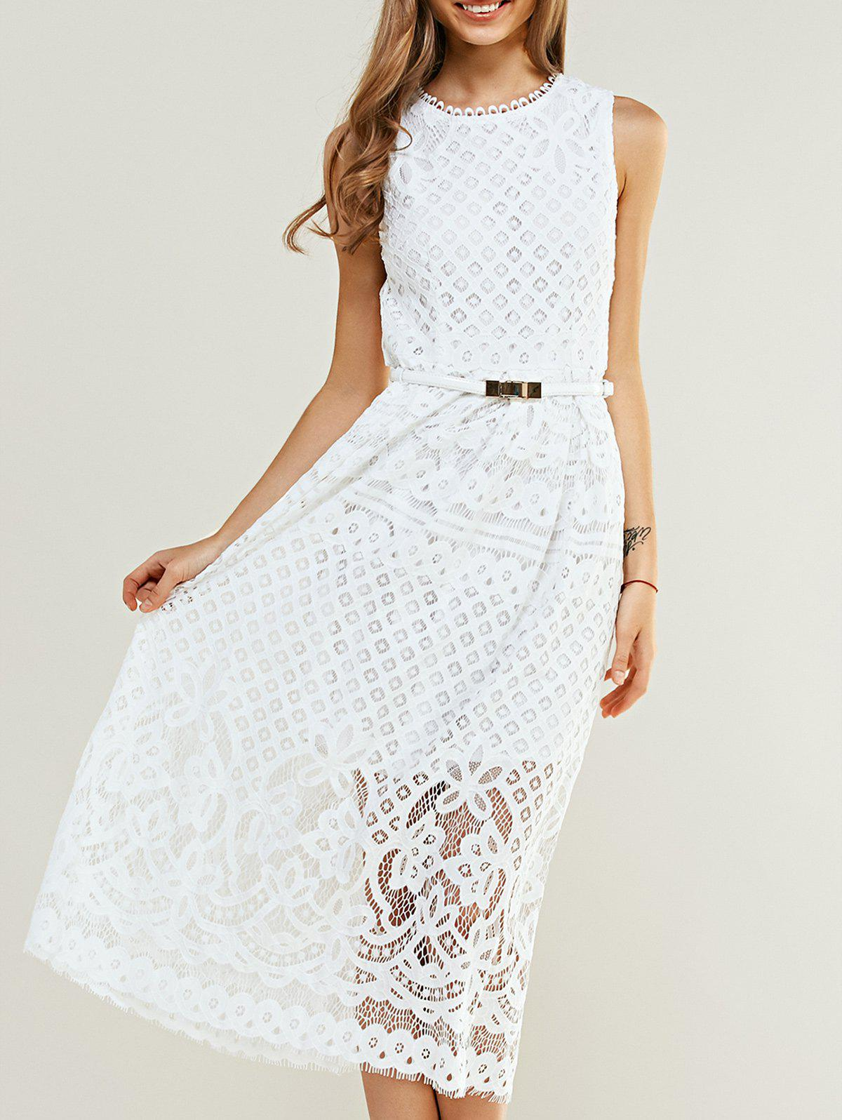 Sleeveless Crochet Belted Lace Dress - WHITE 2XL