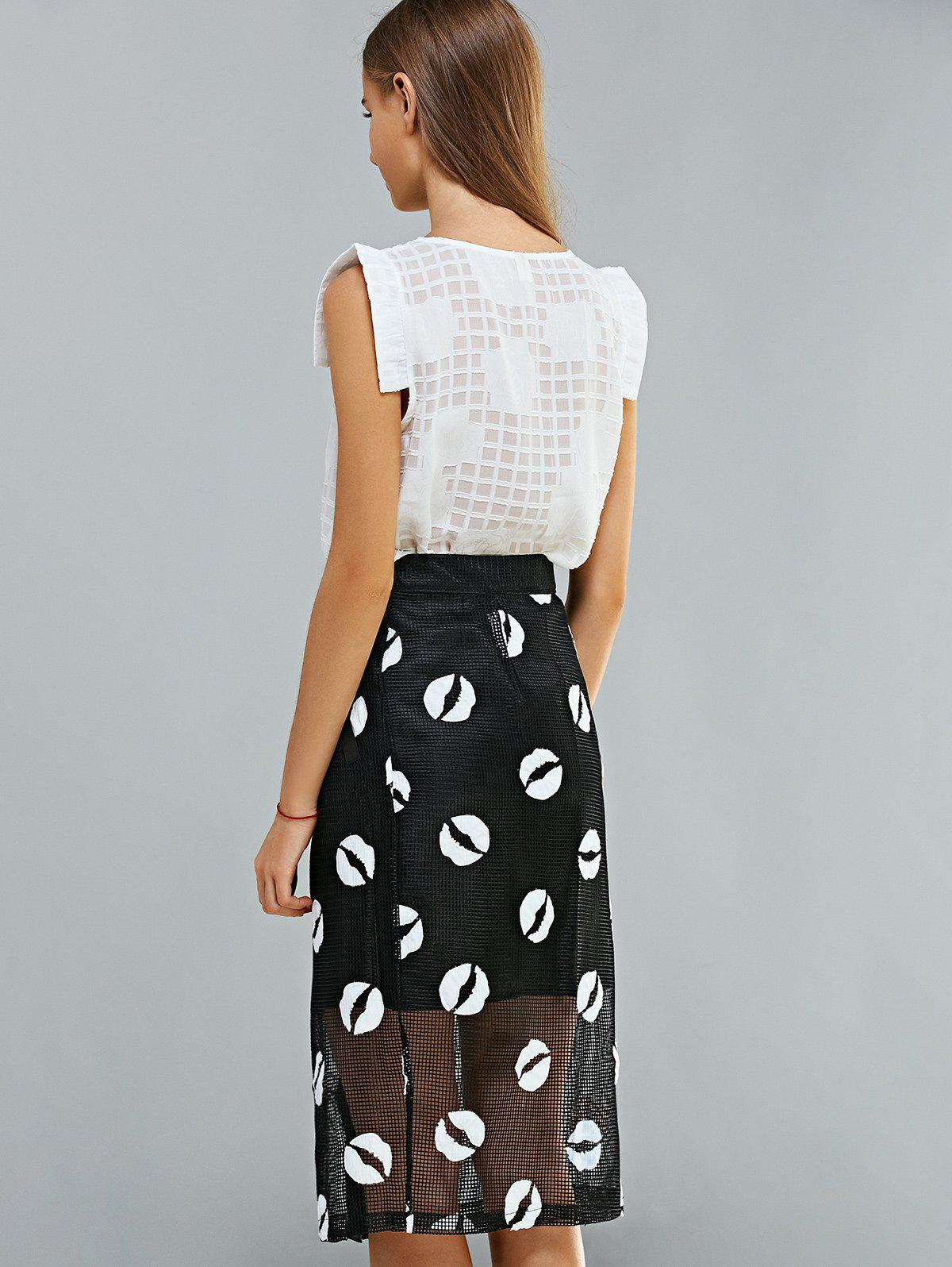 Lace Top and Voile Splicing Skirt Suit - WHITE/BLACK S