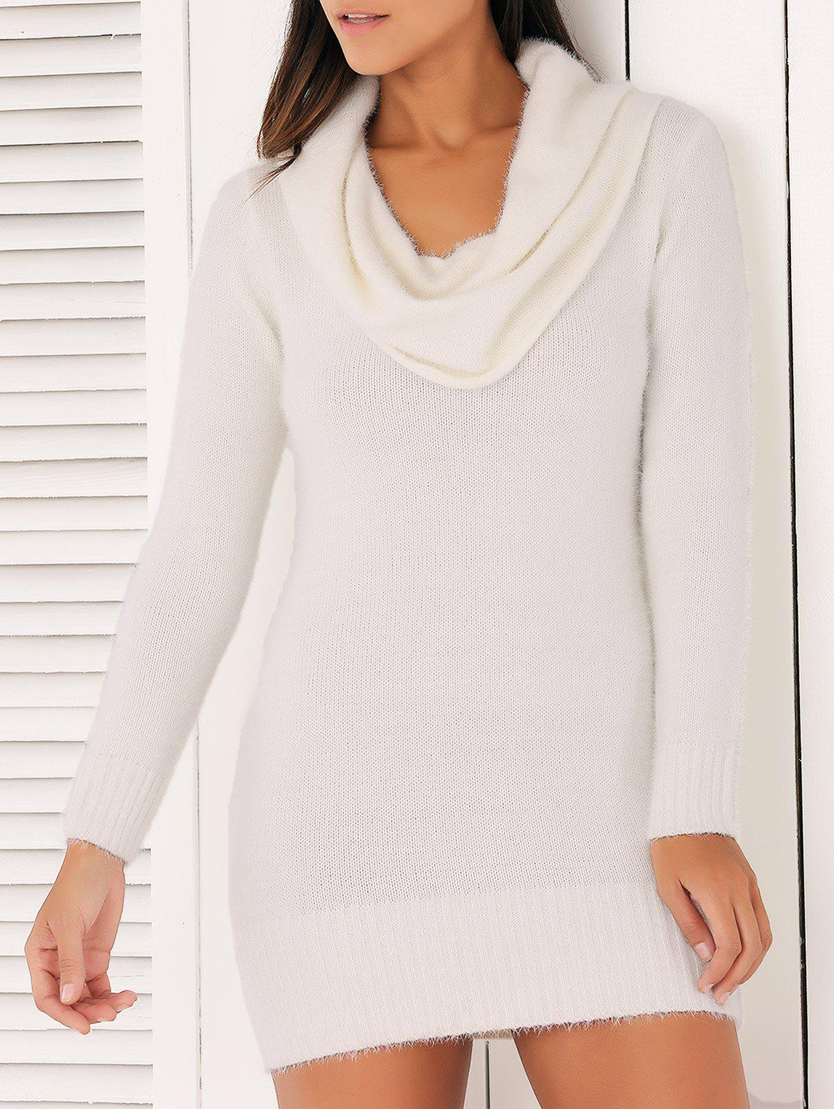 Brief Cowl Collar Long Sleeve Sweater Dress For Women - ONE SIZE WHITE
